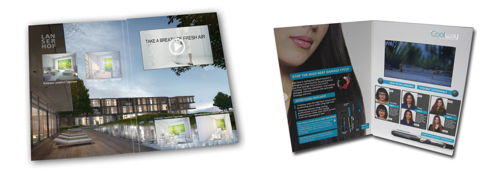 "Video brochure - A4 size with a 7"" LCD screen"